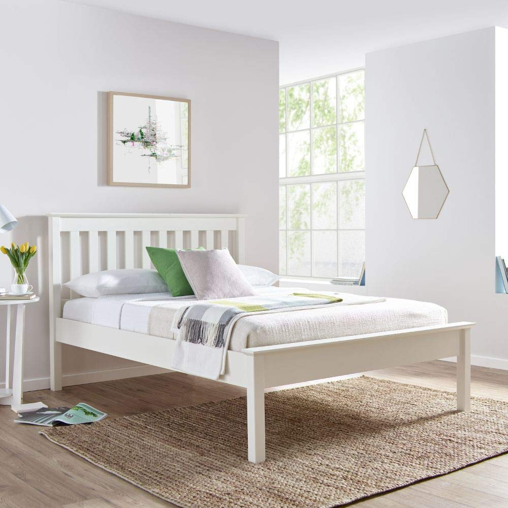 White Wooden Bed Happy Beds Grace Wood Shaker Bed 4ft Small Double 120 X 190 Cm Frame Only