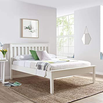 new product 0ca78 93e6d White Wooden Bed, Happy Beds Grace Wood Shaker Bed - 4ft Small Double (120  x 190 cm) Frame Only