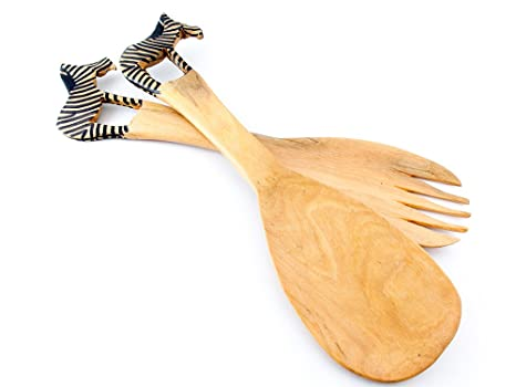 Amazon Com Maisha Fair Trade African Wooden Salad Servers Set