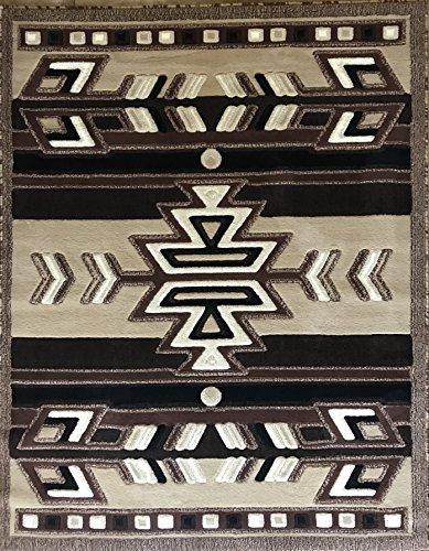 Southwest Native American Area Rug Beige Brown Black Ivory Design 113 (8 Feet X 10 Feet 6 - Southwestern Area Burgundy Rug