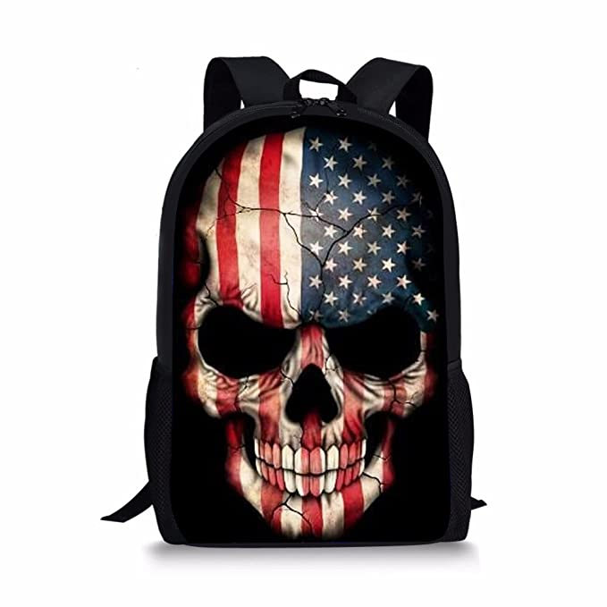 6c63f26512 Coloranimal Cool Kids Punk Skull School Backpack Boys Cartoon Shoulder Bags