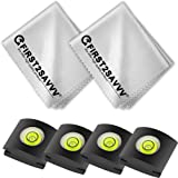 First2savvv 2 in 1 camera accessory pack Suede cleaning cloth(pack of 2) + Hot Shoe Spirit Level Cover(pack of 4) for Canon Nikon Panasonic Fujifilm Olympus Pentax Sigma DSLR/SLR Camera CLTC-SY-C01