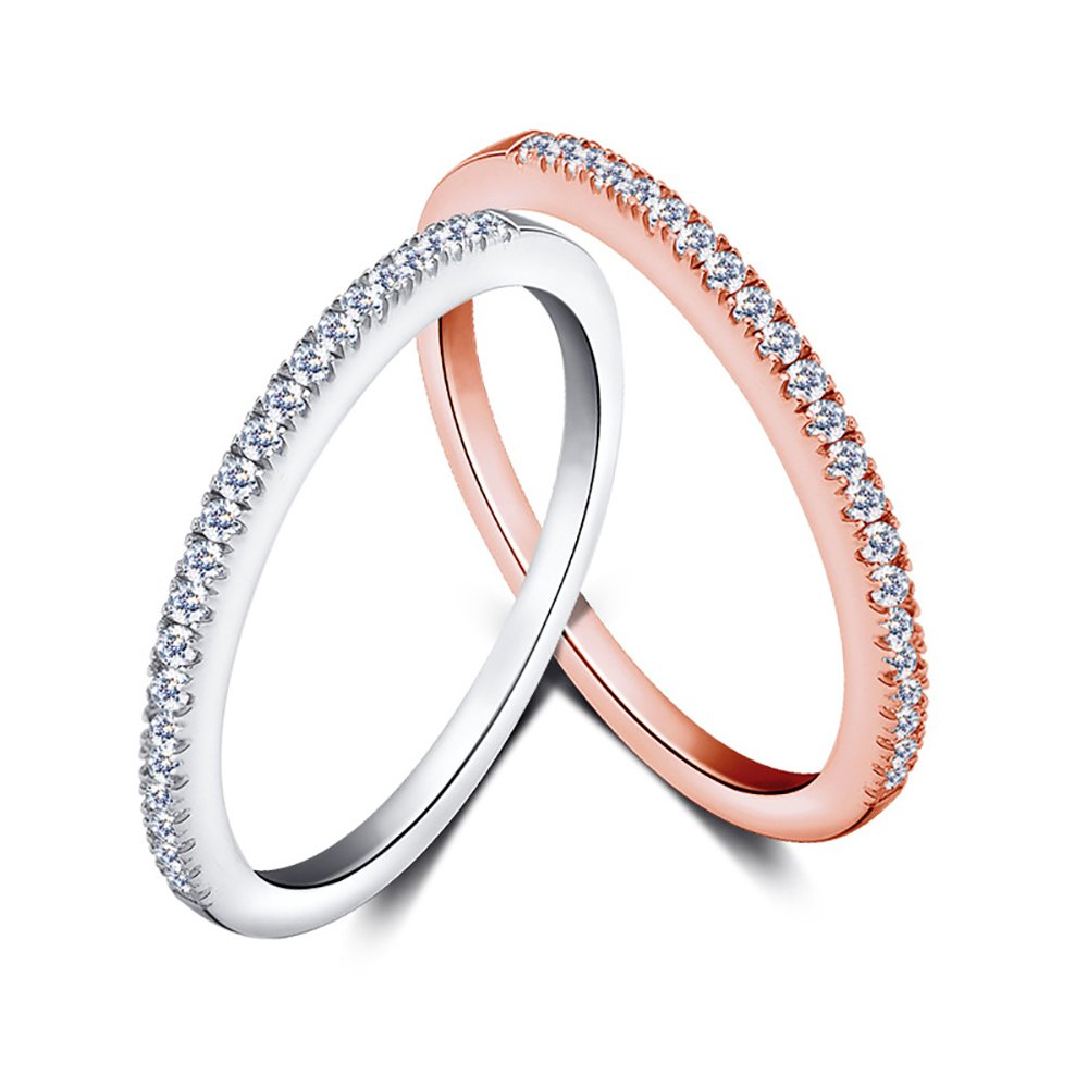 TIDOO Jewelry 925 Pure Silver Plated Stackable Rose Gold Color Ring Cubic Zirconia Micro Inlays 1.5mm Thin Mini Knuckle Ring
