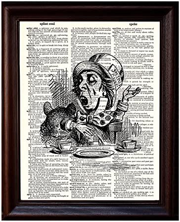 Hat of the Mad Hatter Alice in Wonderland print on dictionary page art poster