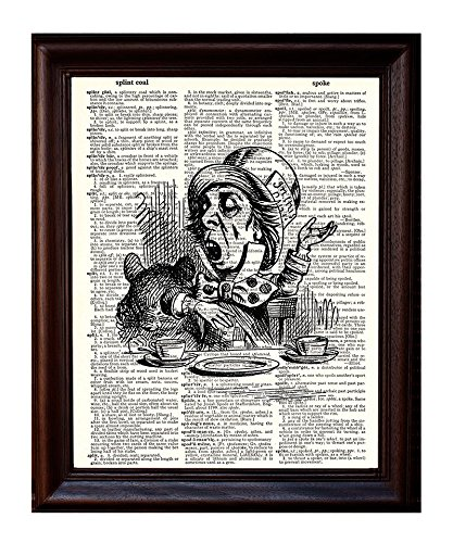 Dictionary Art Print - Mad Hatter - Printed on Recycled Vintage Dictionary Paper - 8x11 - Mixed Media Poster on Vintage Dictionary Page