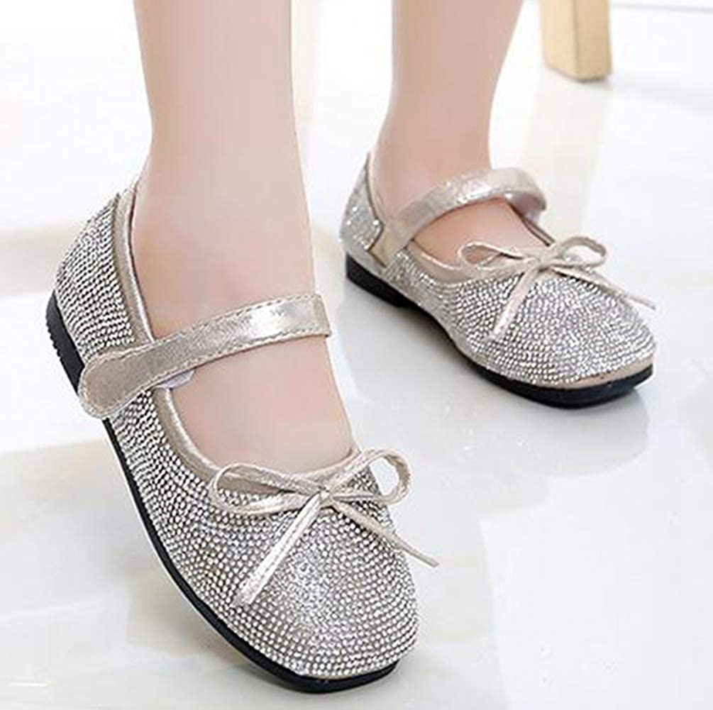 LGXH Little Girls Sparkle Mary Jane Bow Strap Low Heels Kids Soft Sole Princess Dress Bling Bling Shoes