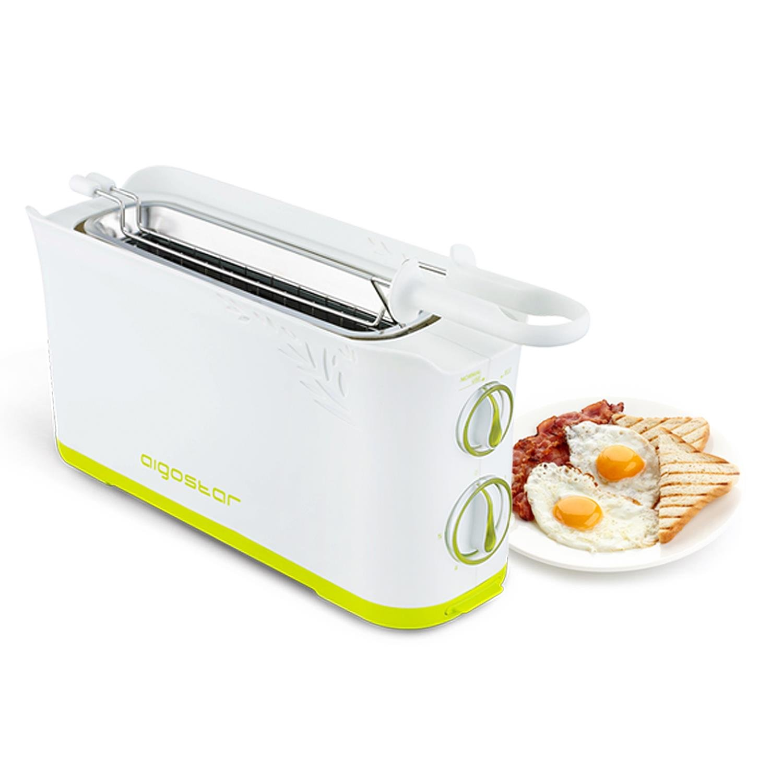 Tostapane per 2 fette bianco Aigostar Morning 30HIN Funzione di temperatura regolabile e pinze removibili Timer fino a 5 minuti 750 watt di potenza Design esclusivo