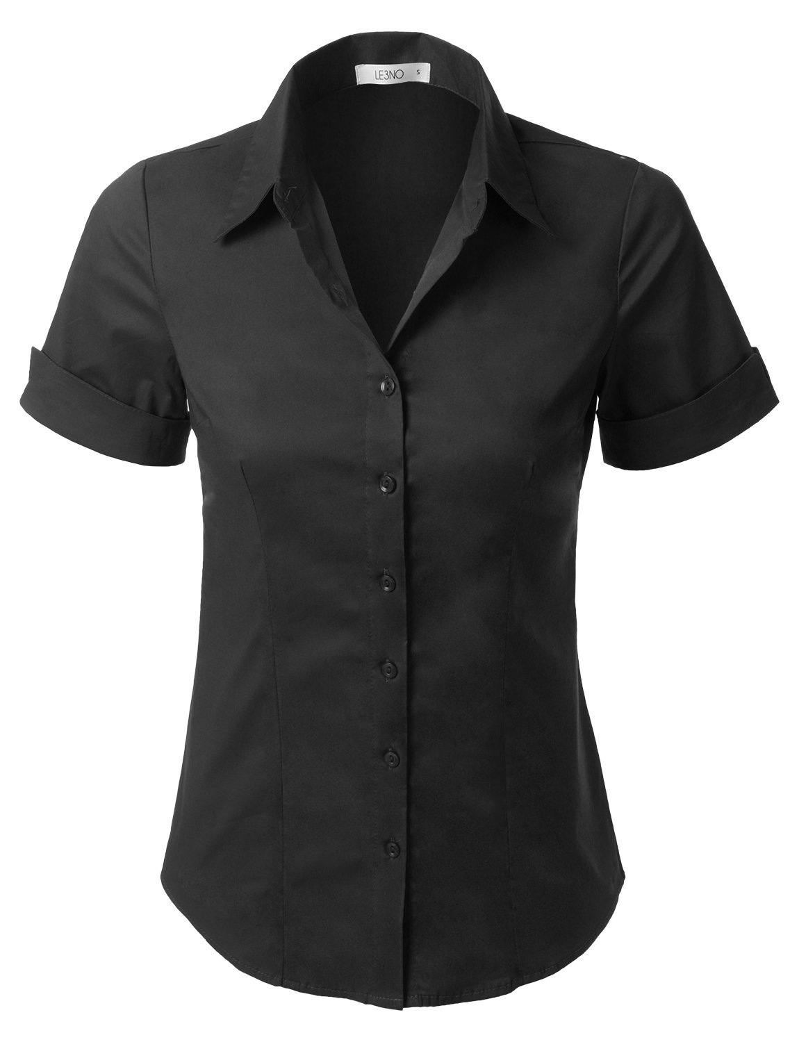 LE3NO Womens Short Sleeve Button Down Shirt With Stretch,L3nwt575a_black,Large