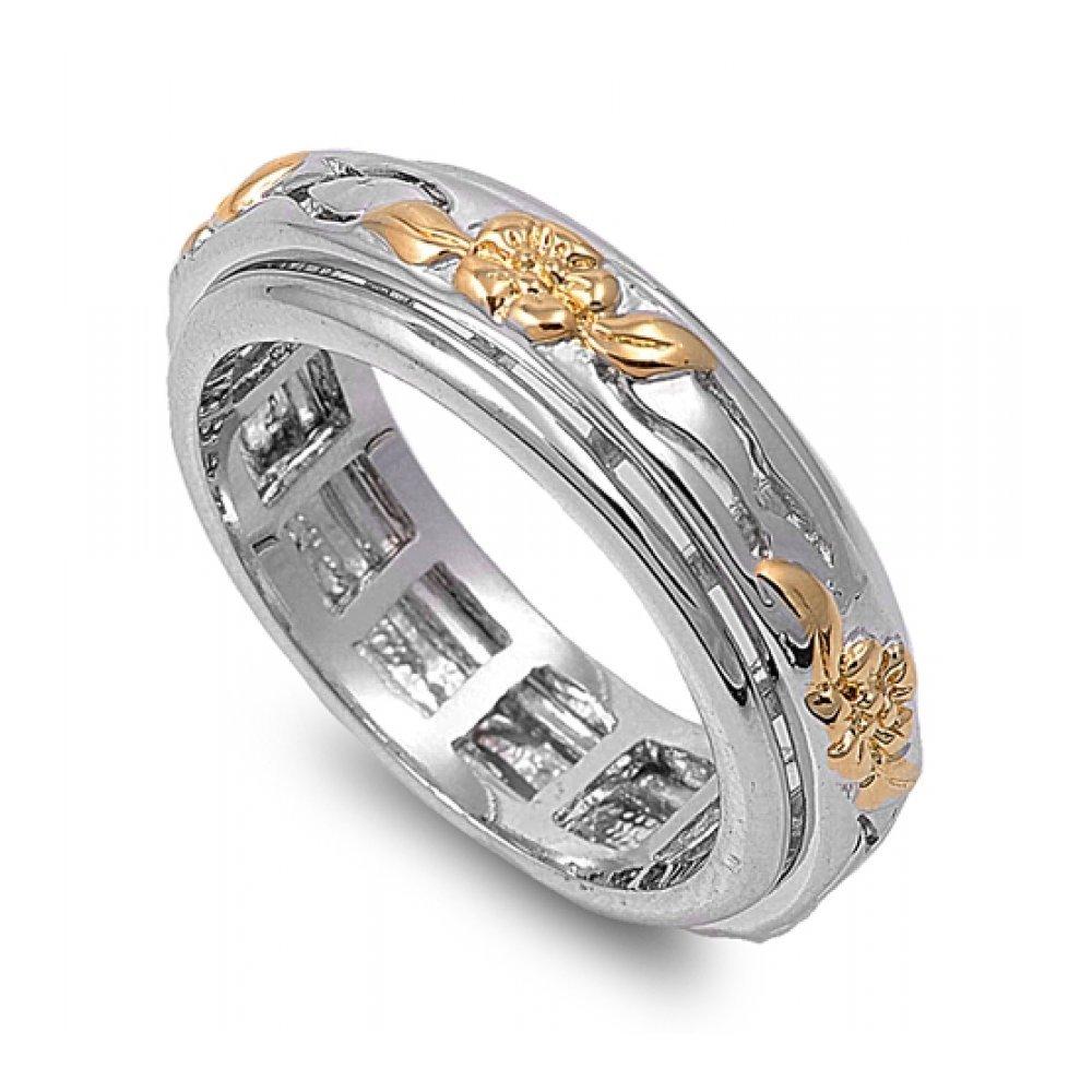 925 Sterling Silver Flower Ring Spinner Glitzs 45876