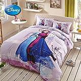 Sisbay Frozen Anna Elsa Olaf Cartoon Bedding for Kids,Boys Girls Queen Size Princess Duvet Cover, Modern Fashion Print Fitted Sheet,4PC
