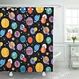 Best Planet Dog Dog Whistles - Emvency Shower Curtain Kids Baby Space Planets Pattern Review