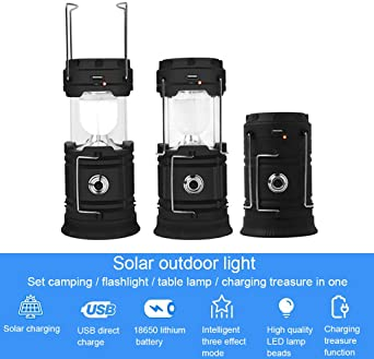 Battery//Solar Powered Portable Rechargeable LED Lantern+Power Bank Charger Pack