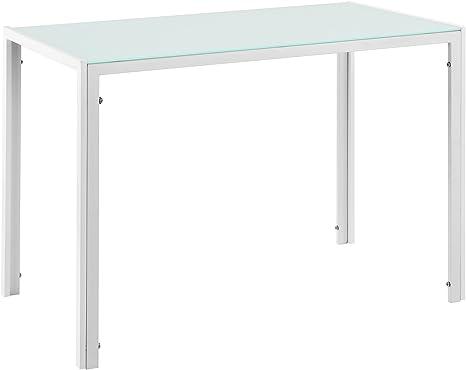 [en.casa] Mesa de Comedor Elegante con Tablero de Vidrio 105cm x 60cm x 75cm Blanca