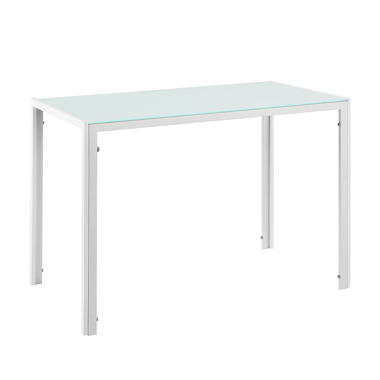 [en.casa] Tavolo da pranzo con piano tavola di vetro bianco [en.casa]®