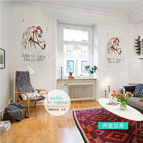 boho room decor diy.htm cartoon animals horse head personality flowers wall sticker mural  cartoon animals horse head personality