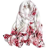 Women's 100% Mulberry Silk Scarf Floral Print Satin Long Scarf Wrap Shawl