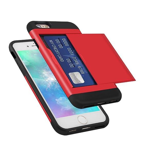 half off 94dd1 60199 Amazon.com: iPhone 6 6s Case, Card Slot Holder Wallet Case Dual ...