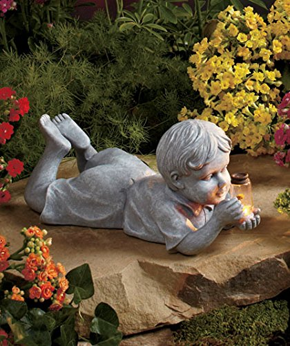 Superb Outdoor Decoration Little Boy Kid Statue With Solar Firefly Light Ideal For  Your Garden   Best
