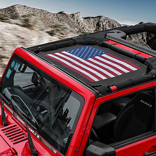 RT-TCZ Sunshade Mesh Shade Top Cover US Flag Polyester Durable Sun Shade for Jeep Wrangler 2007-2017 JK JKU 2 Door Black Red US Flag