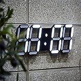 Junshion Luminous Modern Digital LED Mesa de escritorio Reloj de alarma de pared reloj de pared- Pantalla de 24 o 12 horas-Fácil de configurar-Gran regalo