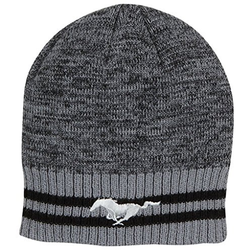 Genuine Ford Mustang Striped Knit Beanie Winter Cap Hat