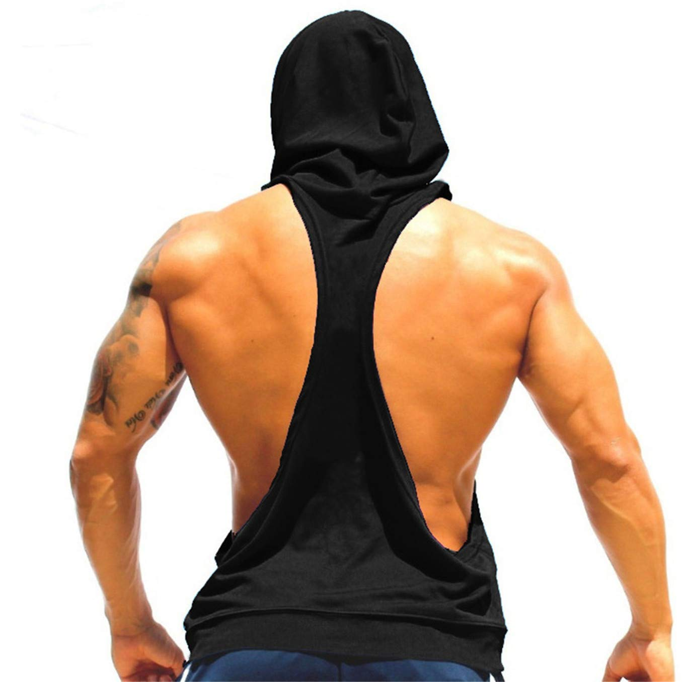 TIFENNY Men Fashion Hooded Vest Sling Running Yoga Gym Fitness Sport Shorts Breathable Sleeveless Tops Black