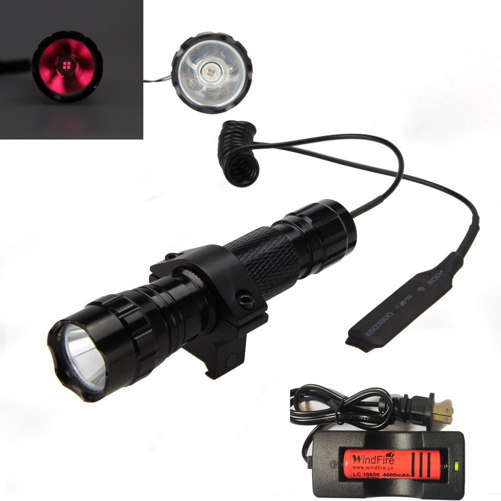 WindFire® WF-501B 5W 850nm Infrared Radiation IR Night Vision Tactical LED Hunting Flashlight Lamp 18650 Torch + Pressure switch + Rail Mount for Hunting AR -To Be Used with Night Vision Device
