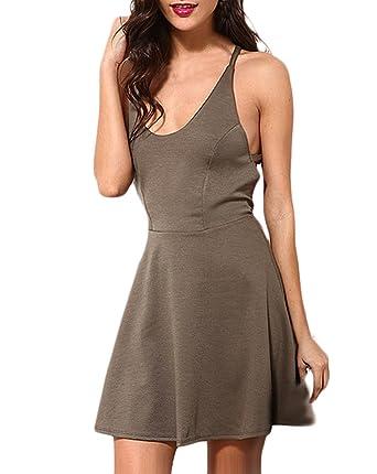 8aab9b3de0b Somerkleider Damen Kurz Casual Minikleider Ärmellos V-Ausschnitt Rückenfrei  Elegant Mädchen Kleid A Linie Swing