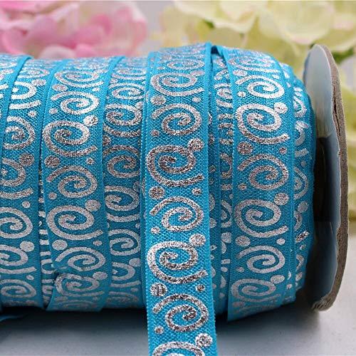 Jammas 165966, 5/8'' 16MM hot Silver Print Spiral Elasticity Ribbon, 5 Yards DIY Handmade Hair Accessories Material,