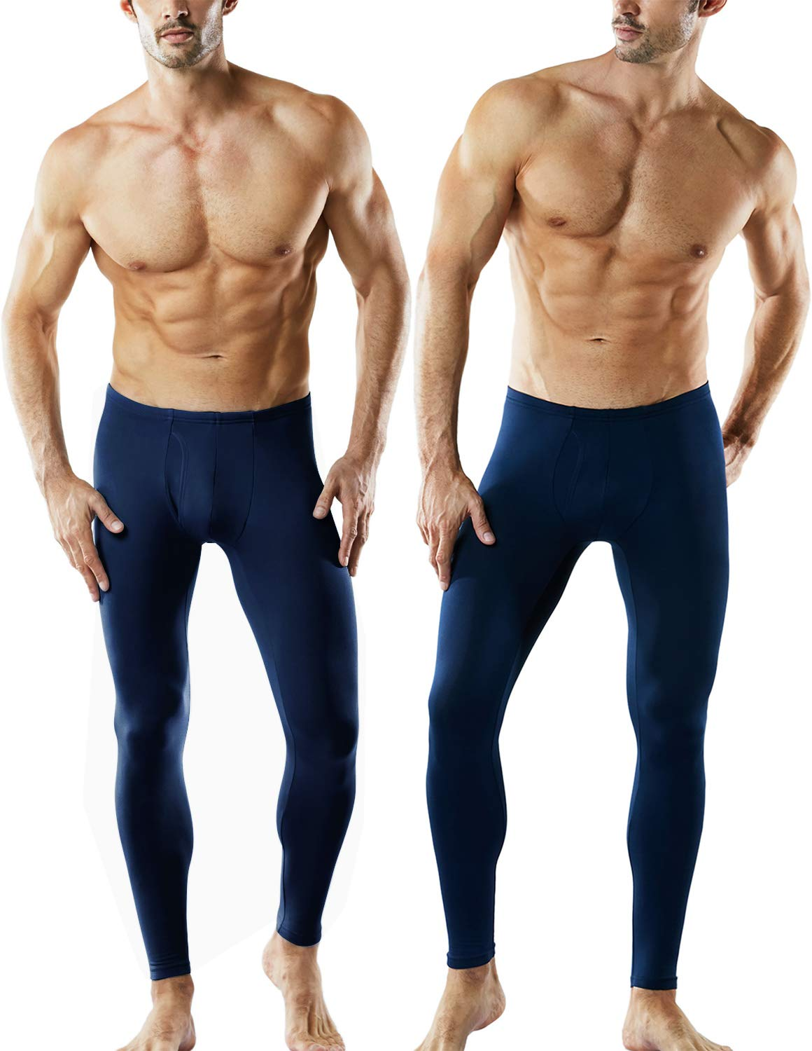 TSLA Men's 2 Pack Thermal Microfiber Fleece Lined Bottom Underwear Long Johns Stretchy with Fly, Thermal Fly-Front 2pack(mhb101) - Navy, Large by TSLA