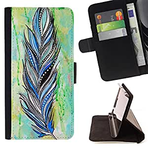/Skull Market/ - INDIAN PATTERN WATERCOLOR BIRD FEATHER For HTC DESIRE 816 - Caja de la carpeta del tir???¡¯???€????€????????&ce