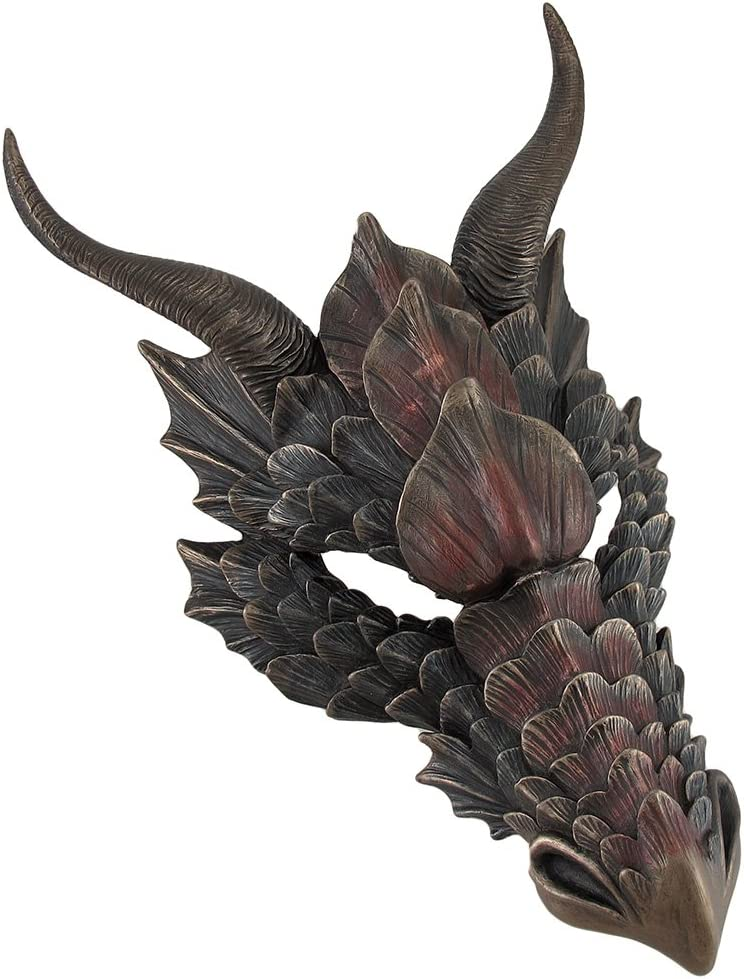 Resin Wall Sculptures Metallic Bronze Finish Dragon Head Wall Mask Medieval Decor 8.5 X 12 X 5.5 Inches Bronze