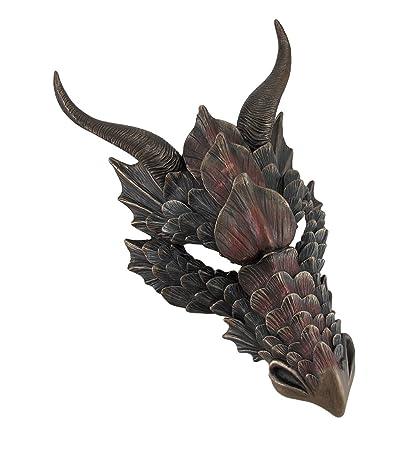 Metálico acabado en bronce cabeza de dragón pared máscara Medieval Decor