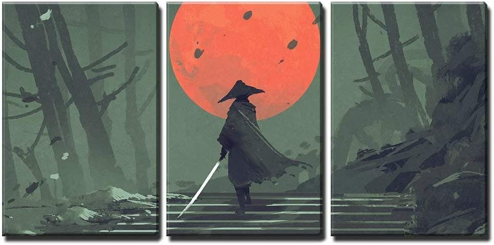 """wall26 - 3 Piece Canvas Wall Art - Illustration - Samurai Standing on Stairway in Night Forest - Modern Home Decor Stretched and Framed Ready to Hang - 16""""x24""""x3 Panels"""