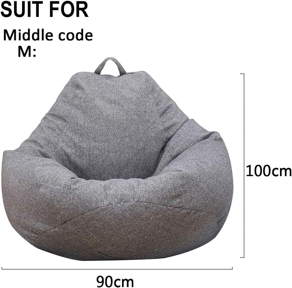 Blue,80 * 90cm Stuffed Bean Bag Cover Plush Toy Storage Clothes Organizer Seat Floor Foldable Linen Chair Sofa Cover
