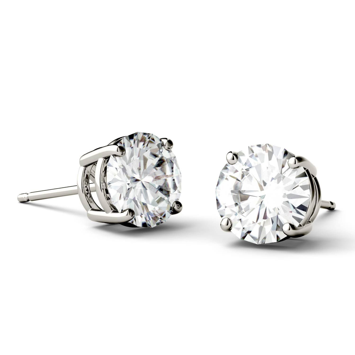 gold dcw cut radiant white moissanite image colvard charles earrings stud