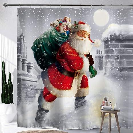 Christmas Santa Snowman Bathroom Shower Curtain Waterproof Xmas Decor 12 Hooks