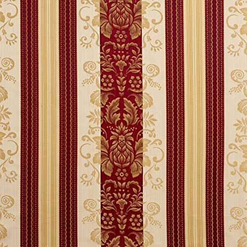 (Ruby Vintage Beige Tan Taupe Burgundy Red Rust Gold Yellow Foliage Heirloom Vintage Stripe Damask Jacquard Upholstery Fabric by the yard)