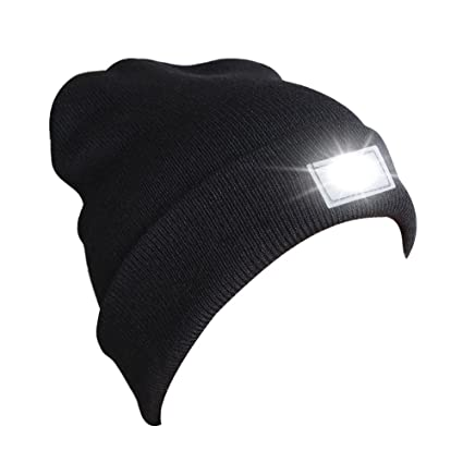 a93a852b95c Accmor Hands Free Ultra Bright 5 LED Knitted Flashlight Beanie Hat Cap  Power for Hunting