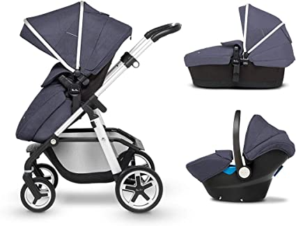 Silver Cross Pioneer Baby Pram and Pushchair, Travel System with Car Seat – Midnight Blue