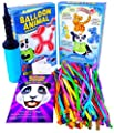 Balloon Animal University PRO Kit. 100 Balloons Custom Colors with Qualatex balloons, Jumbo PRO Dbl-Action Air Pump, Book, and Online Video Training Access. Learn to Make Balloon Animals Starter Kit.