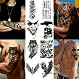 Playmax Temporary Tattoo Stickers 8 Sheets for Boys Teens Guys Men Models, Long Lasting Rocker Tattoo Waterproof Disposable Stickers Cool Evil Design Wolf Eagle Crow Skull Sword Winds Words