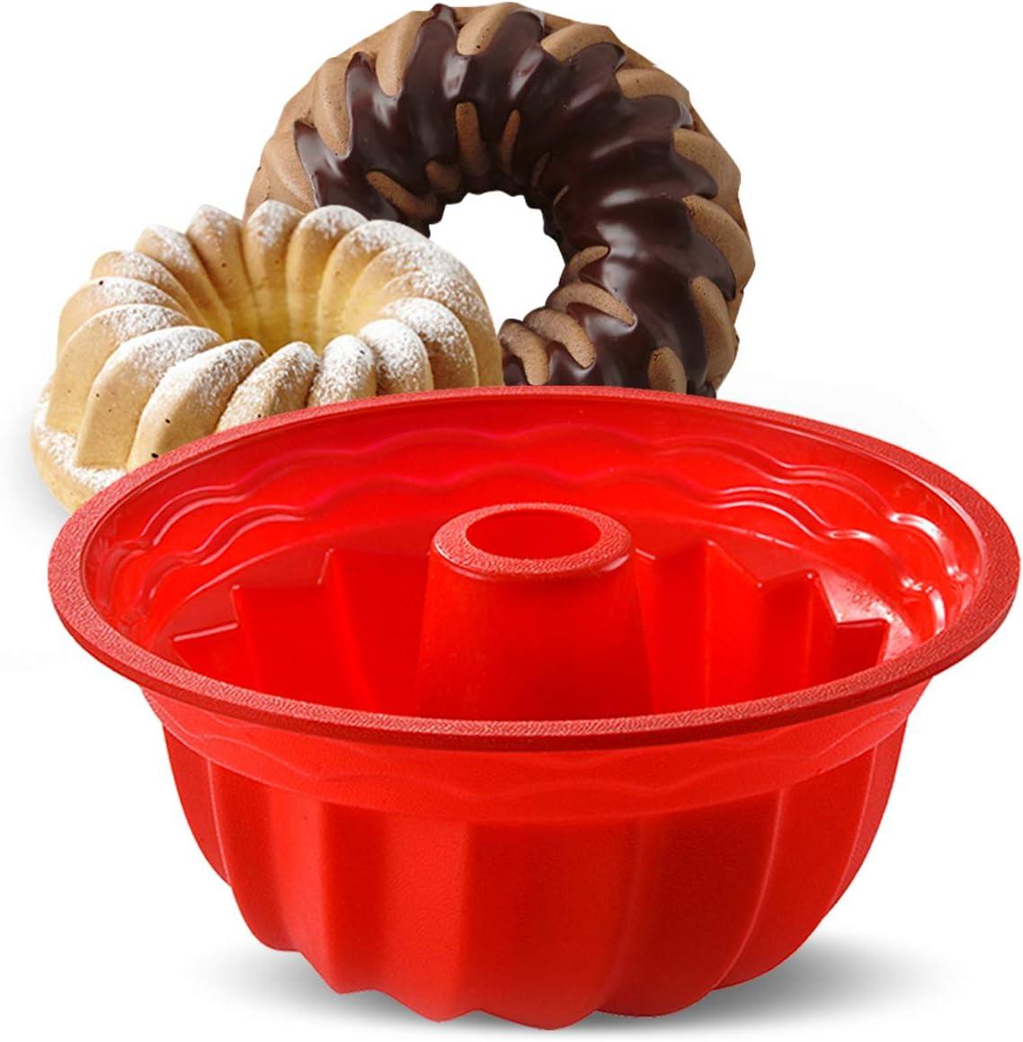 Aokinle Silicone Baking Molds, European Grade Fluted Round Cake Pan, Non-Stick Cake Pan for Jello,Buntcake,Gelatin,Bread, 9.45 Inches Tube Bakeware Red