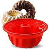 Aokinle Fluted Round Cake Pan, Silicone Loaf Pan Bread Molds, Bundt Cake Pan Non-Stick for Jello/Mousse/Steamed Cake…