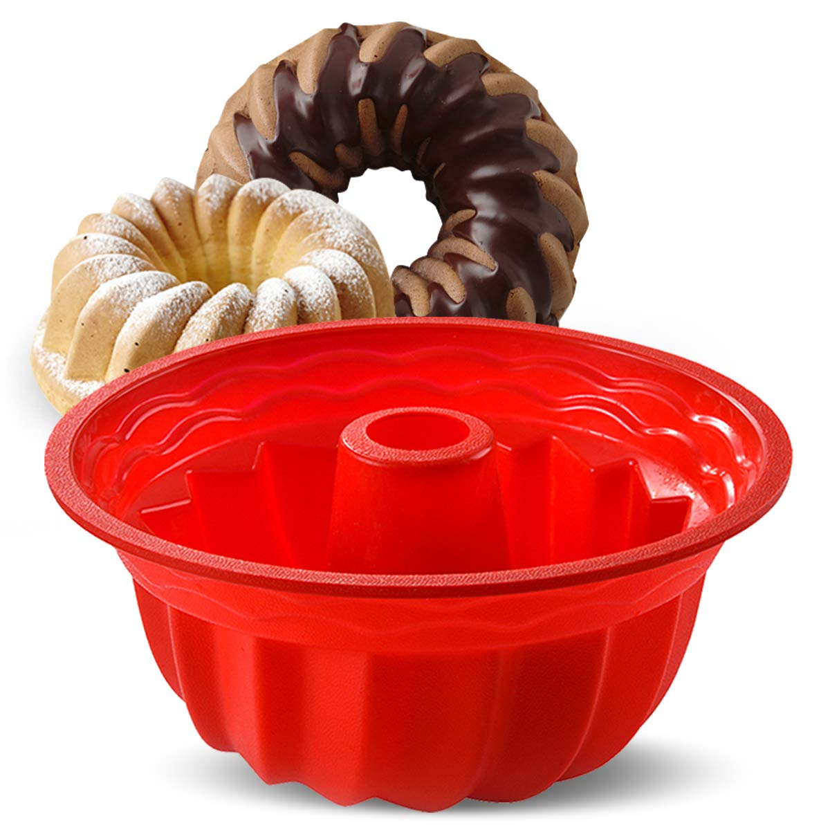 Aokinle Silicone Baking Molds, European Grade Fluted Round Cake Pan, Non-Stick Cake Pan for Jello, Mousse,Cake,Gelatin,Bread, 9.45 Inches Tube Bakeware Red by Aokinle