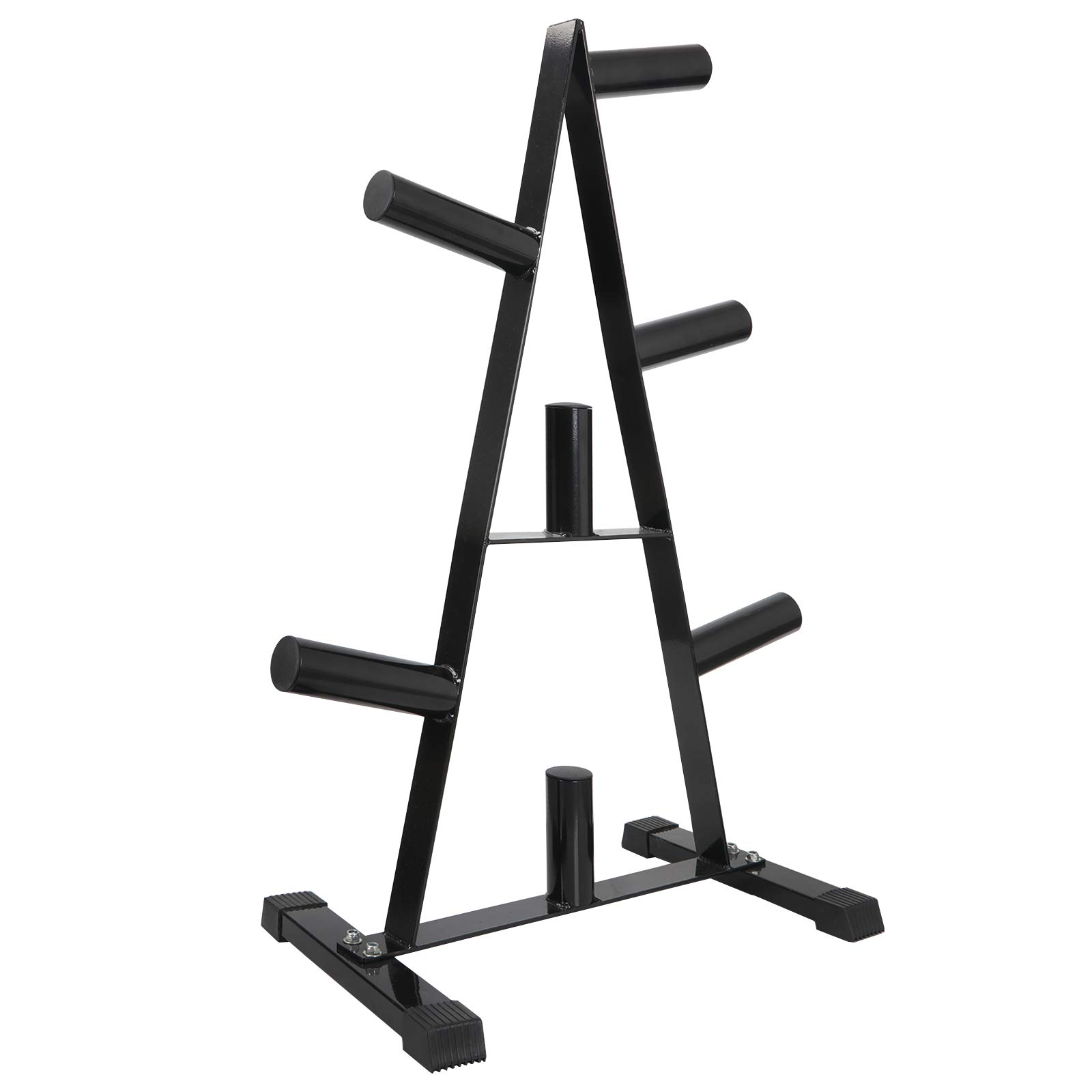 ZENSTYLE A-Frame Barbell Plate Rack - Standard 2-Inch Heavy Duty Olympic Plate Tree Weight Plate Stand (Black)