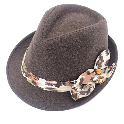 Zhhlinyuan Elegant Womens Wide Brim Jazz Hat 4 Colors Autumn Invierno Flowers Decor Wool Blend Cap