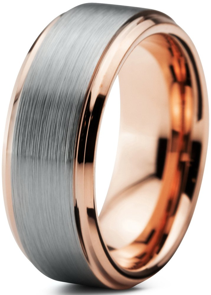 Charming Jewelers Tungsten Wedding Band Ring 8mm for Men Women Comfort Fit 18K Rose Gold Plated Plated Beveled Edge Brushed Polished Size 12