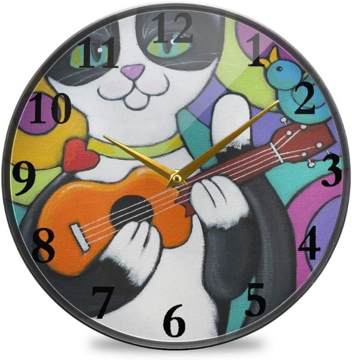 Reloj de pared redondo con diseño de gato y pájaro con guitarra, ideal para comedor, cocina, oficina, aula, etc., plástico, multicolor, 11.9x11.9in