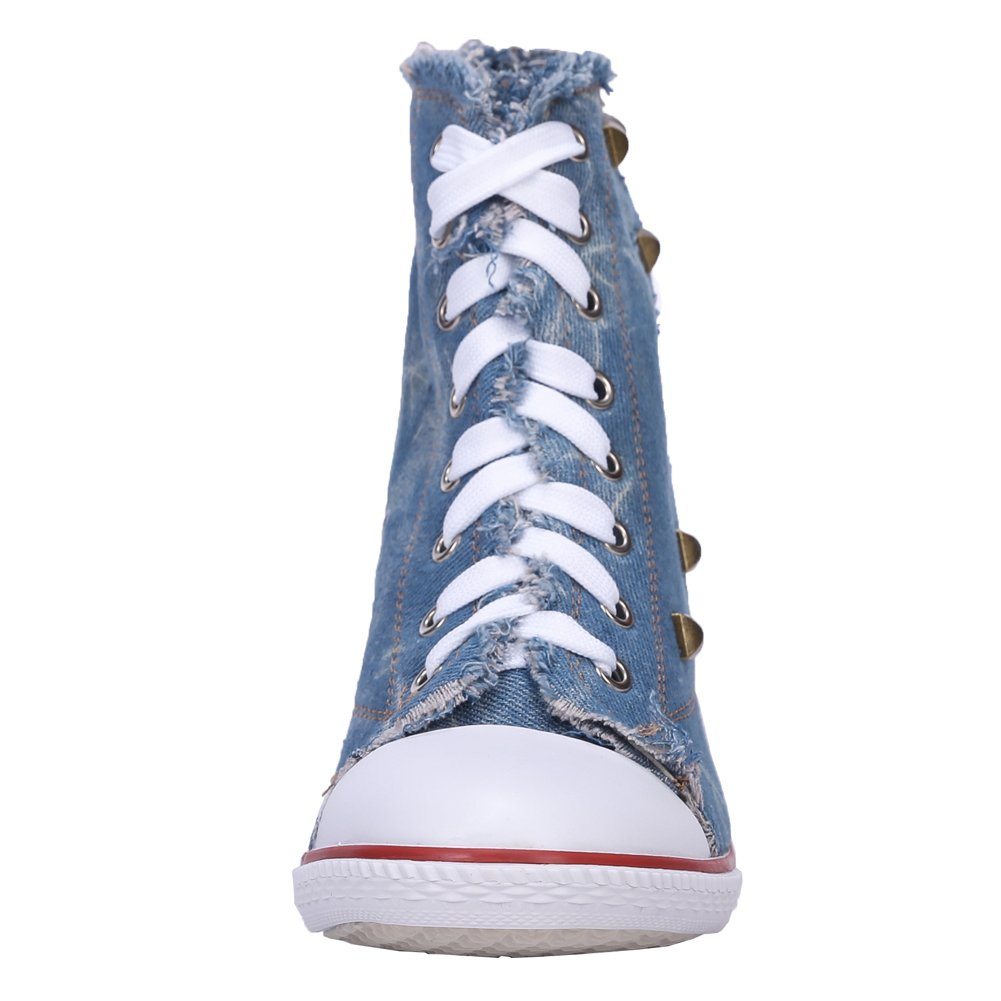 Women's Rivet Lace up High Heel Canvas Ankle Boots Fashion Sneakers (Stiletto + Chunky) B01M5CGO9Z Label 39 - US 8|A# Blue-stiletto